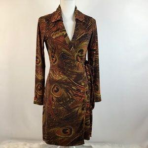 CALVIN KLEIN Size 8 Wrap Dress Button Cuff Sleeve